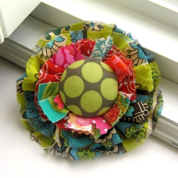 Fabric Flower Pin, Fall Pin, Flower Brooch, Fabric Scrap Pin, Flower Pin, Tattered Flower, Shabby Flower Pin, Polka Dot Pin-  No. 212