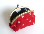 Red and Cream Nautical Anchor and Ships Wheel Print Coin Purse, Change Purse, Key Pouch