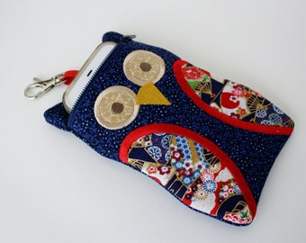 Owl Shaped iPod Touch Case Navy Asian Fan colorful fabric iphone pouch