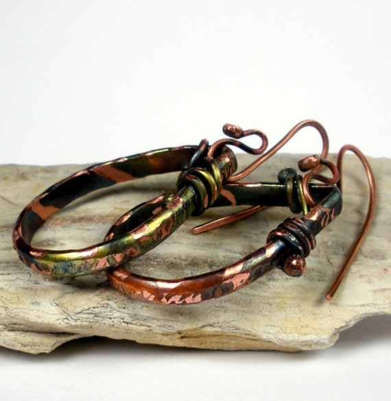 Forged Copper Earrings- Hammered Copper Dangling Teardrop Earrings, Embellished with a Colorful Heat Patina- Camouflage Tears