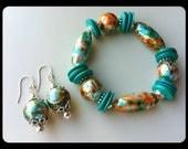 Teal silver orange chunky resin beaded bracelet matching pierced dangle earrings