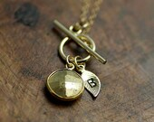 Custom Lucky Pyrite and Gold Leaf Initial Toggle Cluster Necklace