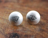 Tiny Silver Diamond Stud Earrings