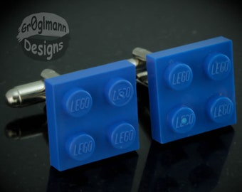 Blue Cufflinks - made with LEGO bricks