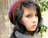 Celebrity slouch hat chunky beret Rasta AIR purple black brown grape