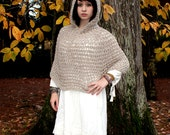 The Hood Poncho shawl boho Scarf spun wool Natural bone white