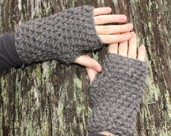 fingerless gloves hand warmers winter Slate Grey wool