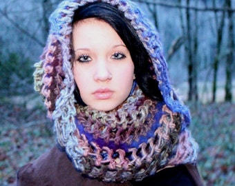 Felted Wool scarf cowl chunky woodland eternity lace blush purple blue sage green