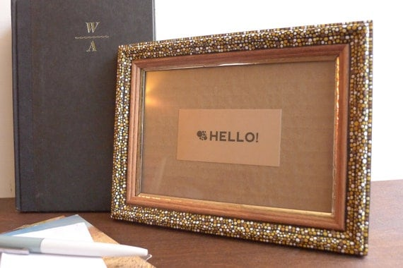Hand-painted Gold Edge Wooden 4x6 Frame : Yellow