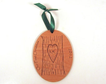 Christmas Ornament for the Newlyweds - Carved Tree First Christmas Ornament