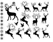 Fancy Reindeer Clip Art Digital Collage Printable 28 Holiday PNG images INSTANT DOWNLOAD