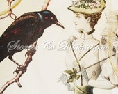 True Love - The Raven's and The Black Feathered Hat - Handmade Victorian Collage Card