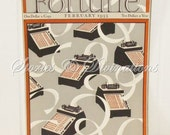 RESERVED - Art Deco - Accountants - Vintage Office Decor - February 1933 Fortune Magazine Cover - Adding Machines - F V Carpenter