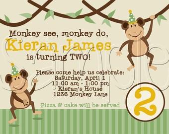 25 5x7 MONKEY Birthday Party Invitations