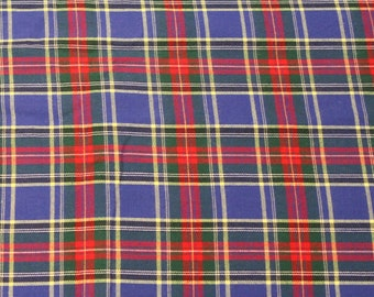 Vintage 1980s Blue Red Plaid Print Cotton Fabric - 3 7/8 Yards - Fabric Yardage / Vintage Yardage / Cotton Fabric / 1980s Fabric / 80s