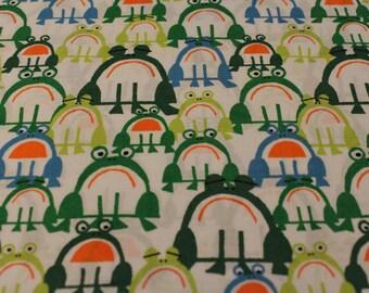 Ed Emberley Happy Drawing -Frogs- 100% Organic Cotton Fabric by Cloud 9 - 1 Yard - Cotton Fabric / Organic by Yard / Organic Print / Yardage
