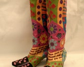 Flower power leather handmade boots 9
