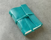 Teal Leather Journal or Sketchbook - badgerandchirp