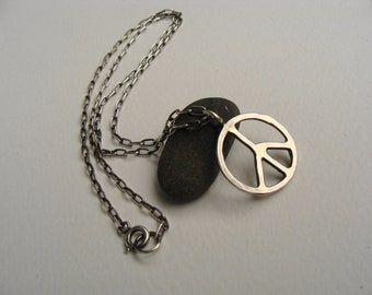 Silver Forged Peace Sign