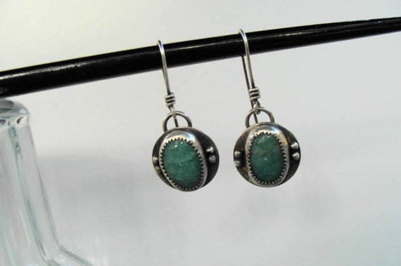 Amazonite Sterling Silver Dangle Oxidized Earrings