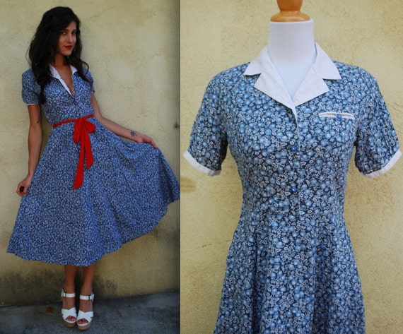 Vintage 90s does 50s Strawberry Fields Calico Circle Dress (size small, medium)