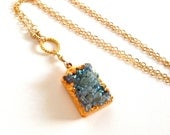 Druzy quartz 14k gold fill necklace