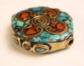 Handmade Inlaid Bead Brass Turquoise Coral