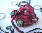 Silk wrap braclet in pink with 4 charms and 3 eternity necklaces  special listing for Laura