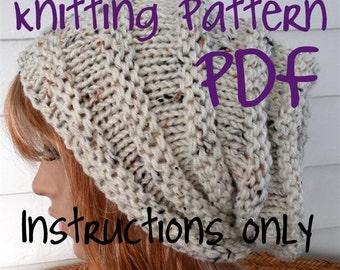 Easy Knitting Pattern, Instant Download Knit Hat Pattern, Slouchy Beanie Chunky, winter, ski, urban, boho, vegan, teen