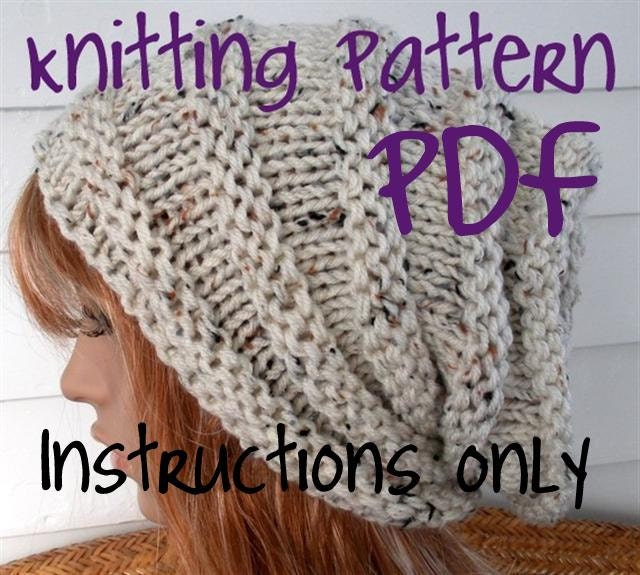 Easy Knitting Pattern Instant Download Knit Hat Pattern Slouchy