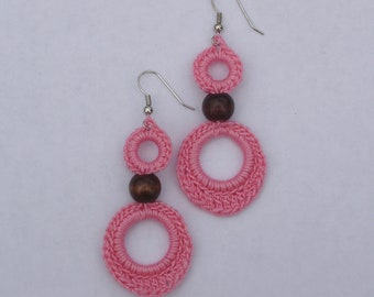 Crocheted Double Loop Earrings--Pink