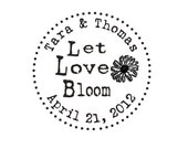 Let love bloom custom rubber stamp with Gerber daisy for wedding favors --5651