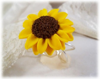 Large Sunflower Ring - Sunflower Jewelry