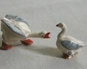 Vintage Britians Metal Duck or Goose Figurine Pair Christmas Putz lead