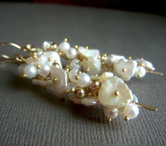 Keishi Pearl Earrings on Goldfill . On Sale, Price Reduced . Luxe Cream Pearl Cluster Wirewrapped Dangle . Indulge