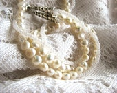 2 Strand Freshwater Pearl and Glass Bead Necklace