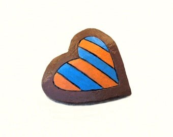 Gourd Heart Brooch Fun Striped Pin Teen Girls Brooch Jewelry Whimsy Orange Turquoise Chocolate Brown Cute Gift for Her Whimsical Love Heart