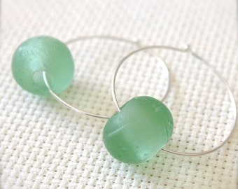 Sterling Silver Hoop Earrings with Green Recycled Glass - Greenery // A208