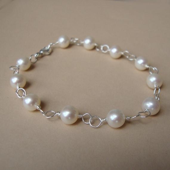 fresh water pearl bracelet bridal jewelry bridesmaids by
