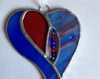 Stained Glass Ornament - Heart with Glass Beads