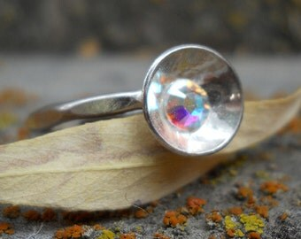Sterling Silver Ring, Size 8 Ring, aurora borealis crystal, Minimalist Ring, Hammered Ring