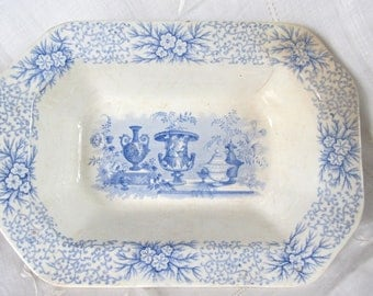 Antique 1840's Transferware Vegetable Bowl Blue And White Staffordshire ,Antique Vases, Joseph Clementson