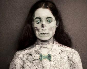 Halloween Decor, Skeleton Portrait, Untitled, Surreal Photograph, 5x5 Print, Double Exposure, Dark Art, Skull, Fine Art Photography,