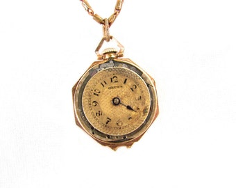 Steampunk Necklace - Rare Vintage Goldfilled Octagon Lady Gruen Convertible Pocket Watch Pendant - OOAK -