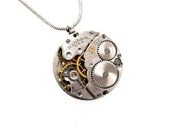 Steampunk Necklace - Waltham Pocket Watch Movement Etched Seven Jewels - Vintage Sterling Silver Chain - Unisex Design