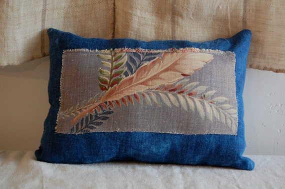 indigo and vintage floral small cushion organic