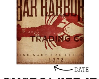 Bar Harbor Maine lobster trading company nautical graphic art illustration on canvas by stephen fowler