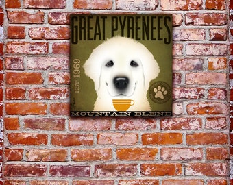 Great Pyrenees Coffee Company dog graphic illustration on gallery wrapped canvas  by Stephen Fowler