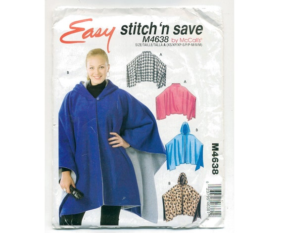 Poncho with Hood Sewing Pattern - UNCUT - See special deal.
