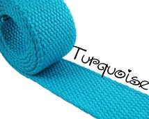 """Cotton Webbing - Turquoise - 1.25"""" Medium Heavy Weight for Key Fobs, Purse Straps, Belting - SEE COUPON"""